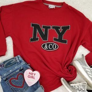 Vintage 90s Sporty Chic NY Sweatshirt Slouchy Sm